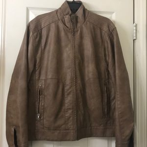 RoundTree & Yorke faux brown-leather jacket